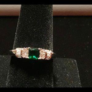 25 Silver Square Shape Emerald Ring size 10